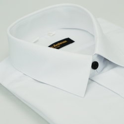 【金安德森】白色斜紋黑釦吸排窄版長袖襯衫