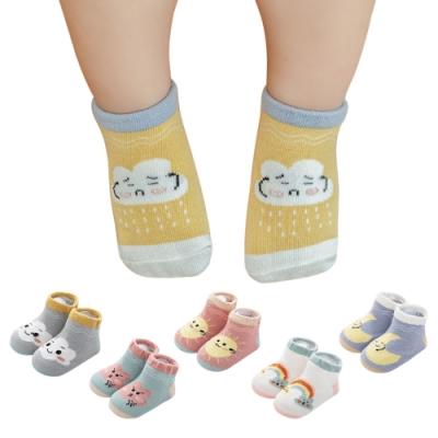 JoyNa【5雙入】兒童襪 鬆口寶寶地板襪子雲朵天氣船襪