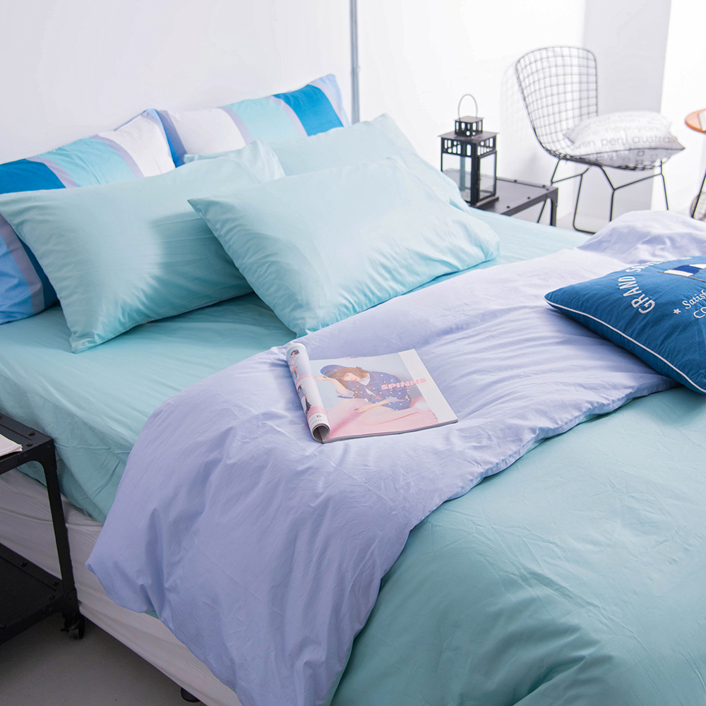 OLIVIA  淺藍X粉藍  單人床包美式枕套兩件組 素色無印系列 200織精梳純棉