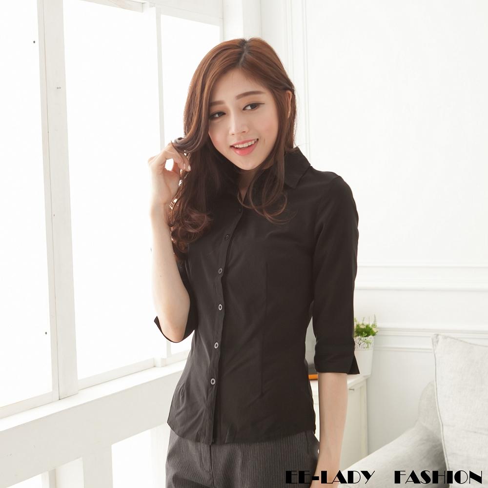 EELADY-素面優質OL七分袖襯衫(黑)