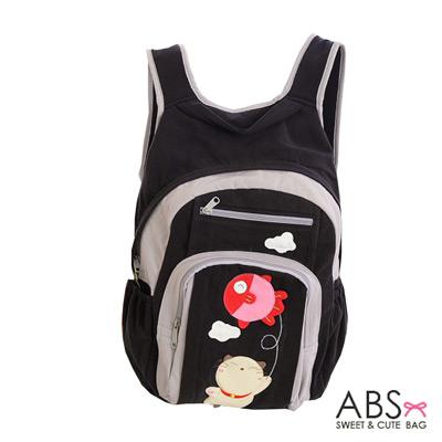 ABS貝斯貓 Fish&Cat 拼布雙肩後背包(個性黑)88-168