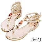 Ann'S戀愛粉寶石T字雙帶夾腳平底涼鞋