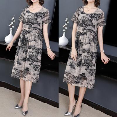 【韓國K.W.】明星款好感風格水墨風印花洋裝-2色