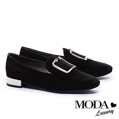 低跟鞋 MODA Luxury 摩登麂皮金屬方釦帶方頭低跟鞋-黑