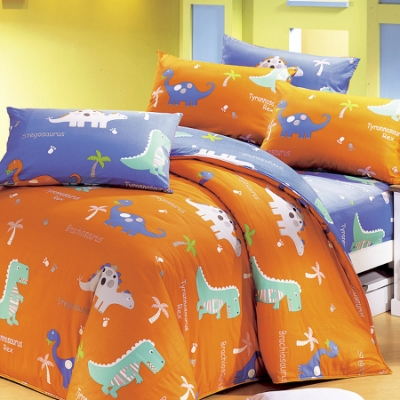 鴻宇 美國棉100%精梳棉 防蟎抗菌 恐龍公園 雙人四件式薄被套床包組