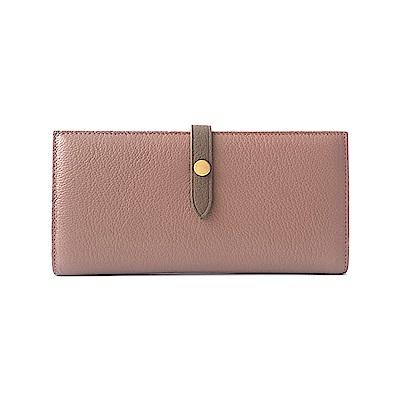 GT0016PK 韓版頭層羊皮長款搭扣皮夾/手拿包/錢包粉色