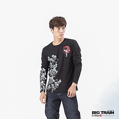 BIG TRAIN 加大款-福鶴千年長袖T-男-黑色
