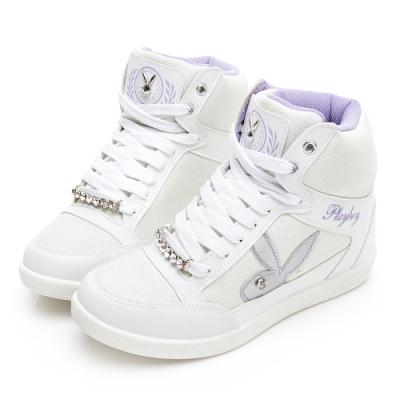 PLAYBOY 搖滾亮蔥兔兔內增高休閒鞋-白-Y571611