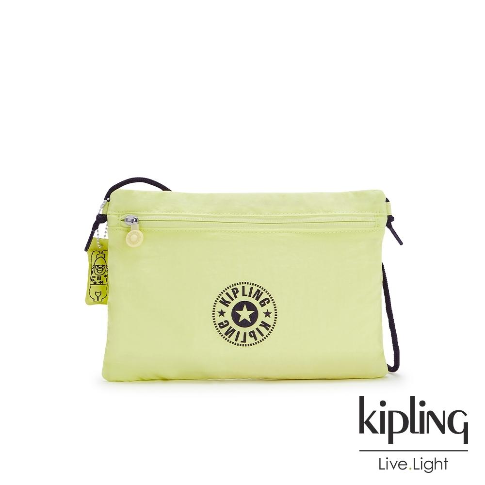 Kipling 清新奶油果綠前拉鍊大開口斜背包-RAGU