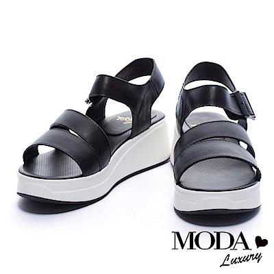 涼鞋 MODA Luxury 簡單魅力條帶牛皮厚底涼鞋-黑