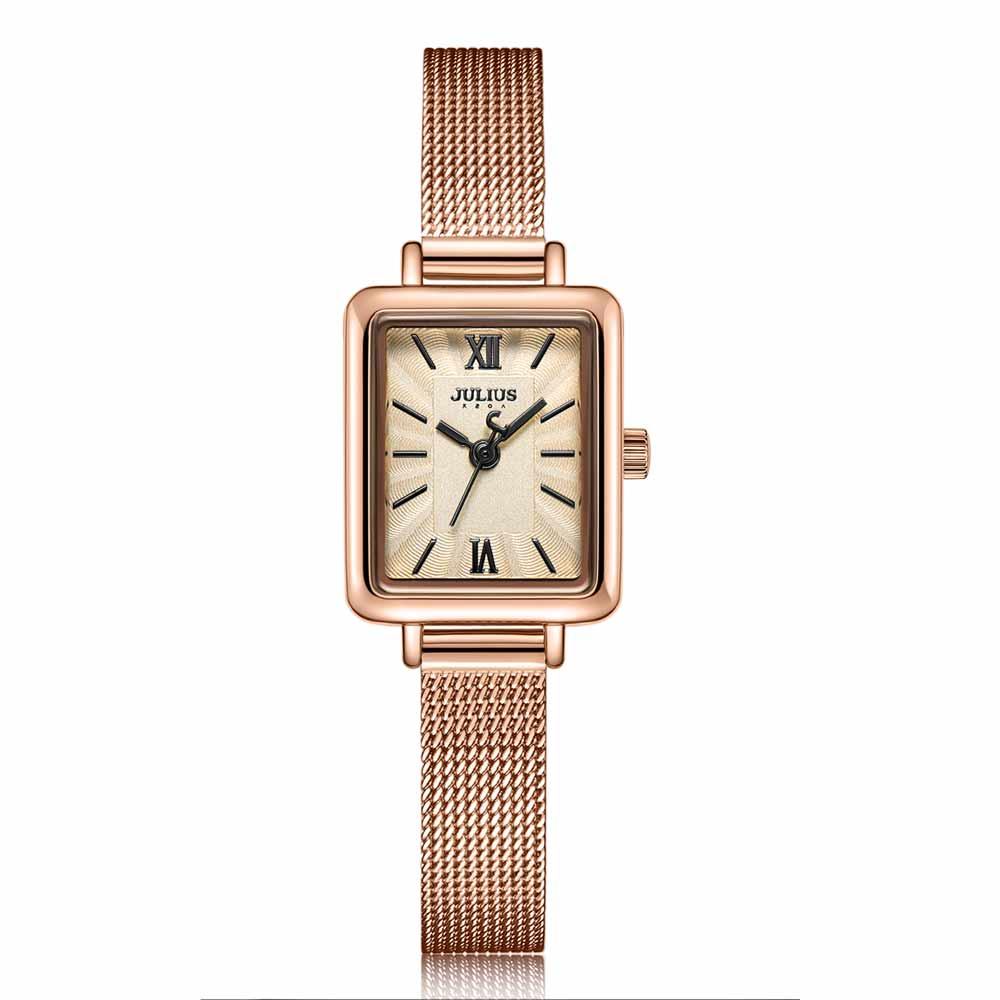 JULIUS聚利時 時光旅程復古米蘭錶帶腕錶-玫瑰金/18.5X22.5