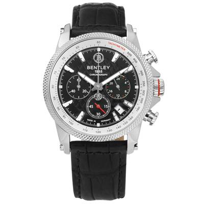 BENTLEY 賓利 德國製造 藍寶石水晶玻璃 日期 計時 真皮手錶-黑色/42mm