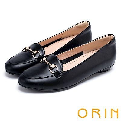 ORIN 氣質馬銜釦牛皮百搭 女 平底鞋 黑色