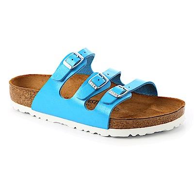 勃肯BIRKENSTOCK 1008858。FLORIDA 三條復古拖鞋(天空藍)