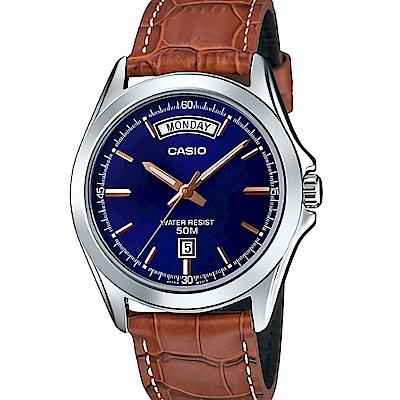 CASIO 雅痞紳士復古指針皮帶腕錶(MTP-1370L-2)/藍面X咖啡40mm