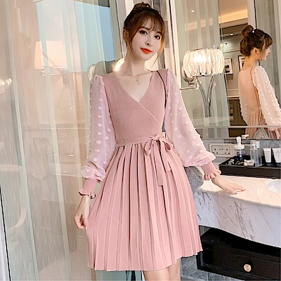 DABI 韓國風針織拼接網紗收腰系帶氣質長袖洋裝