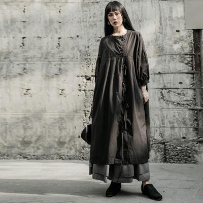 設計所在Style-暗黑復古山本風寬鬆娃娃衫式洋裝