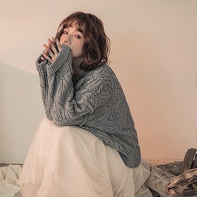 混色紗線麻花粗針織長袖毛衣-OB大尺碼