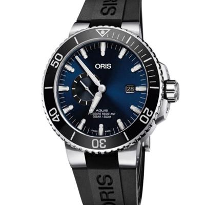 ORIS 豪利時 Aquis 500米潛水自動機械錶x藍x黑45.5mm