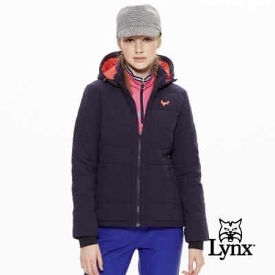【Lynx Golf】女款橫條鋪棉可拆式帽子長袖外套-深藍色