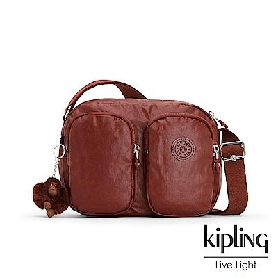 Kipling 雅緻紅褐素面雙拉鍊前口袋側背包-PATTI