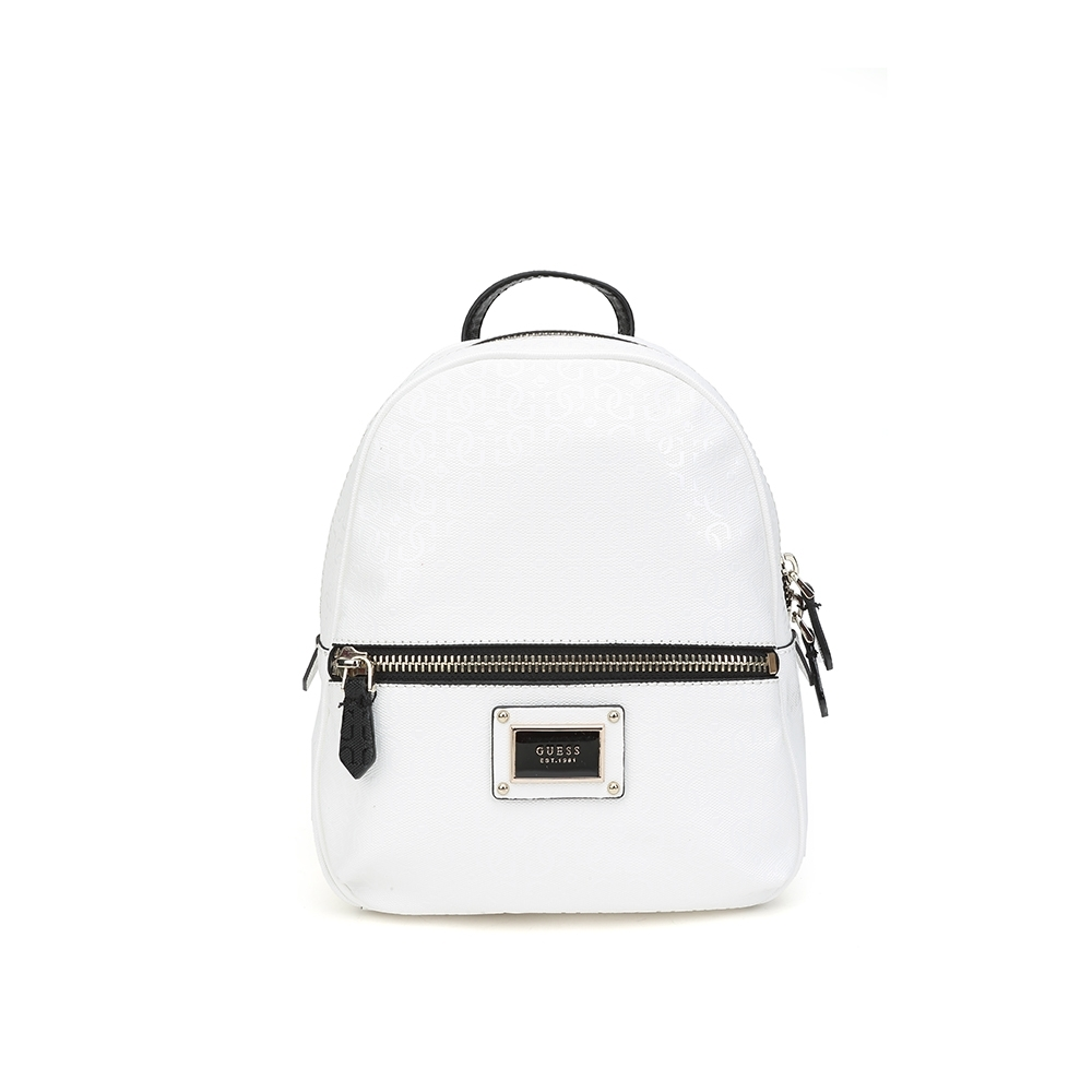 GUESS-女包-素色拼接字母logo後背包-白色