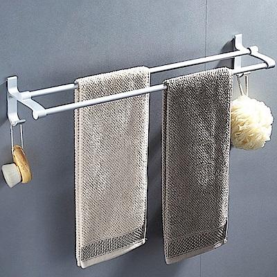 AA085-60cm 加厚雙桿 免打孔無痕太空鋁毛巾架/毛巾桿