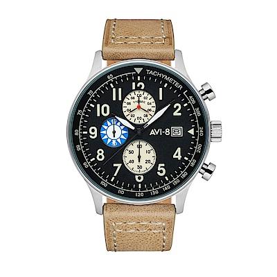 AVI-8 飛行錶 HAWKER HURRICANE 台灣限定版手錶禮-黑x棕/42mm