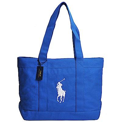 POLO Ralph Lauren 經典大馬LOGO圖騰刺繡大型肩背托特包(寶藍色系)