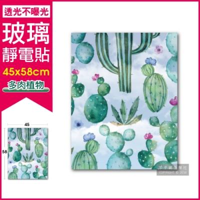 生活良品-3D閃點半透磨砂彩繪玻璃靜電貼-多肉植物款(45x58cm)
