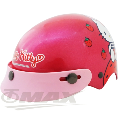 KITTY草莓兒童安全帽-紅色(贈短鏡片)