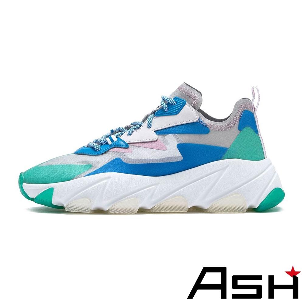 ASH-ECLIPSE蟬翼透明厚底增高運動老爹鞋-藍