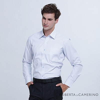 ROBERTA諾貝達 台灣製 商務型男 條紋長袖襯衫RDF44-32藍色