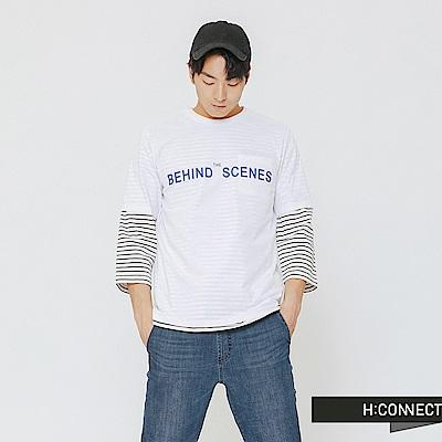 H:CONNECT 韓國品牌 男裝-風格標語T-shirt-白
