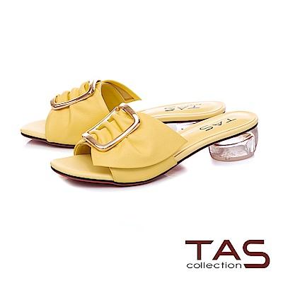TAS 反摺抓皺扣飾牛皮涼拖鞋-亮麗黃
