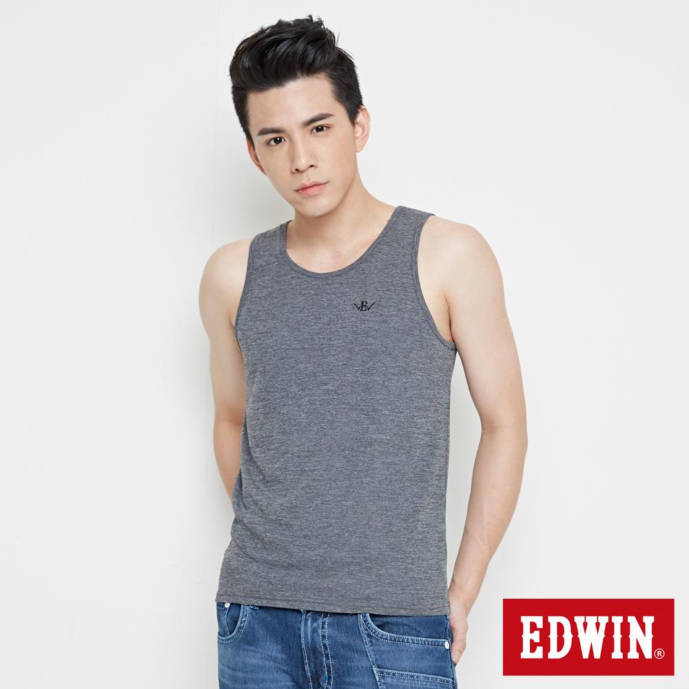 EDWIN 涼感LOGO繡花背心-男-黑灰