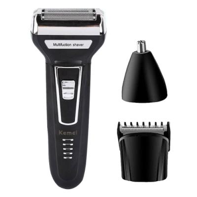 KEMEI三合一多功能充電式刮鬍刀/理髮器/鼻毛器 KM-6558