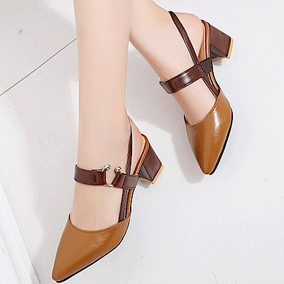 KEITH-WILL時尚鞋館 時尚穿搭名媛必備款粗跟鞋-棕色