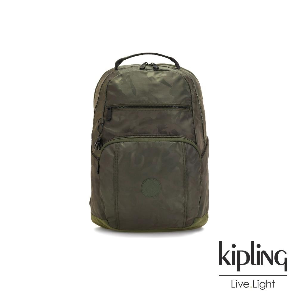 Kipling 迷彩緞灰前後雙層收納後背包-TROY