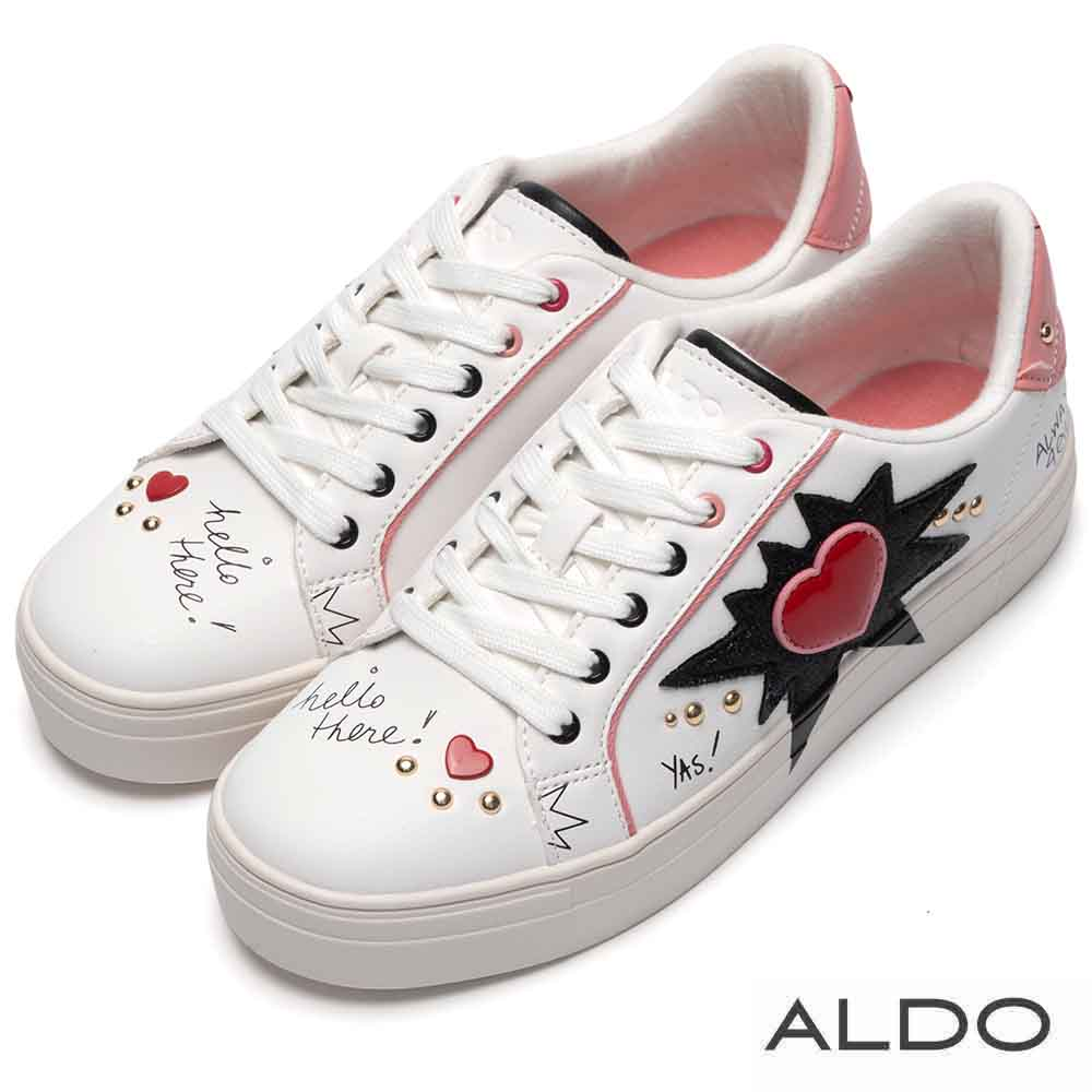 ALDO 原色美式塗鴉愛心布章綁帶休閒鞋~塗鴉白色