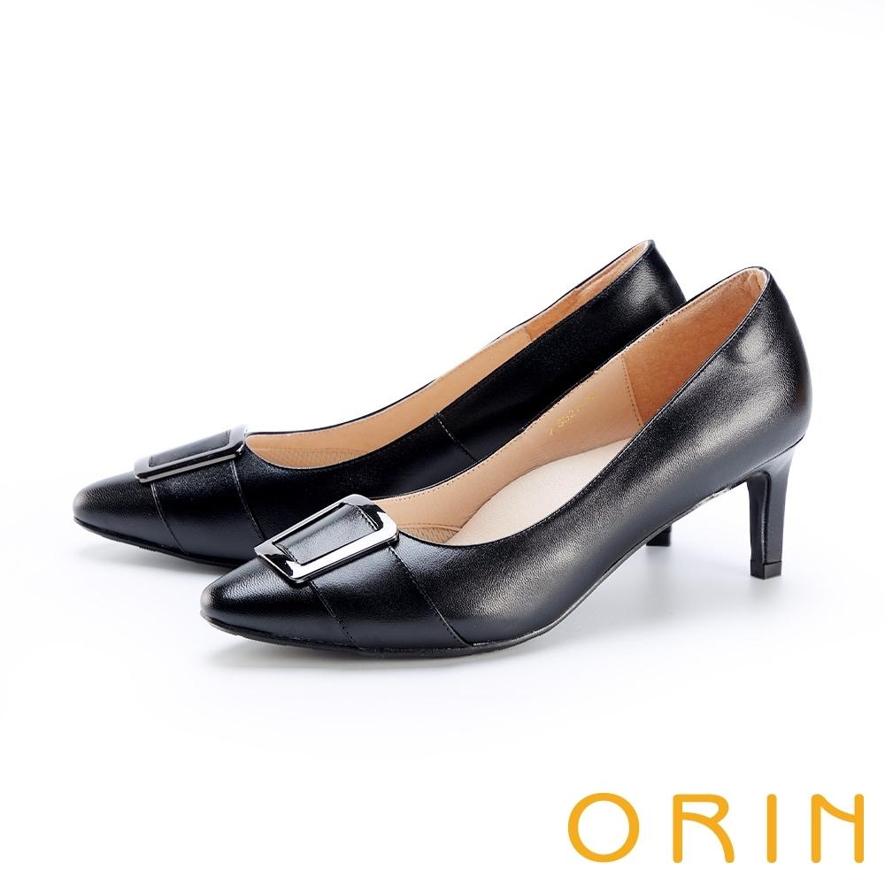 ORIN 金屬釦環羊皮尖頭 女 高跟鞋 黑色