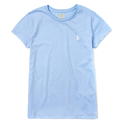 Polo Rlaph Lauren 熱銷小馬圓領素面短袖T恤(女)-水藍色
