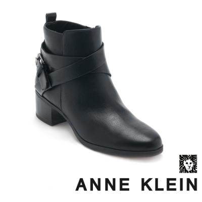 ANNE KLEIN-JAVEN3 率性簡約皮帶扣真皮短靴-黑色