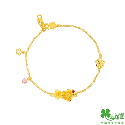 幸運草金飾 桃花緣黃金/紅寶石/水晶手鍊