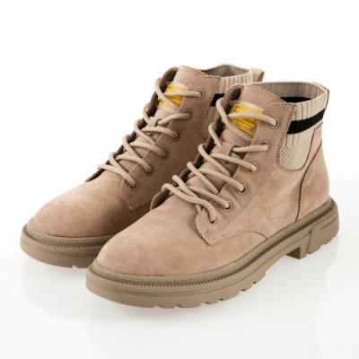 JMS-英式潮流拼接針織綁帶短踝靴-卡其色