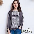 betty's貝蒂思 點點拼接小貝羊刺繡上衣(深灰)