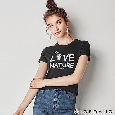 GIORDANO 女裝可愛熊貓短袖印花T恤-41 標誌黑