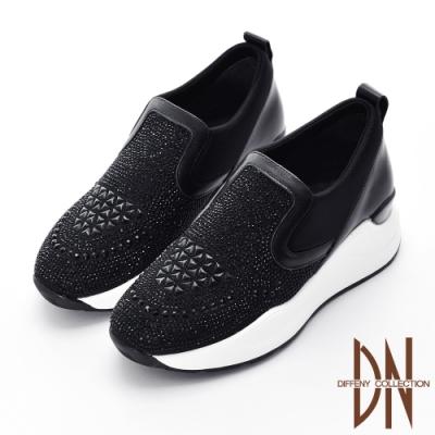 DN休閒鞋_運動風滿鑽異材質厚底休閒鞋-黑