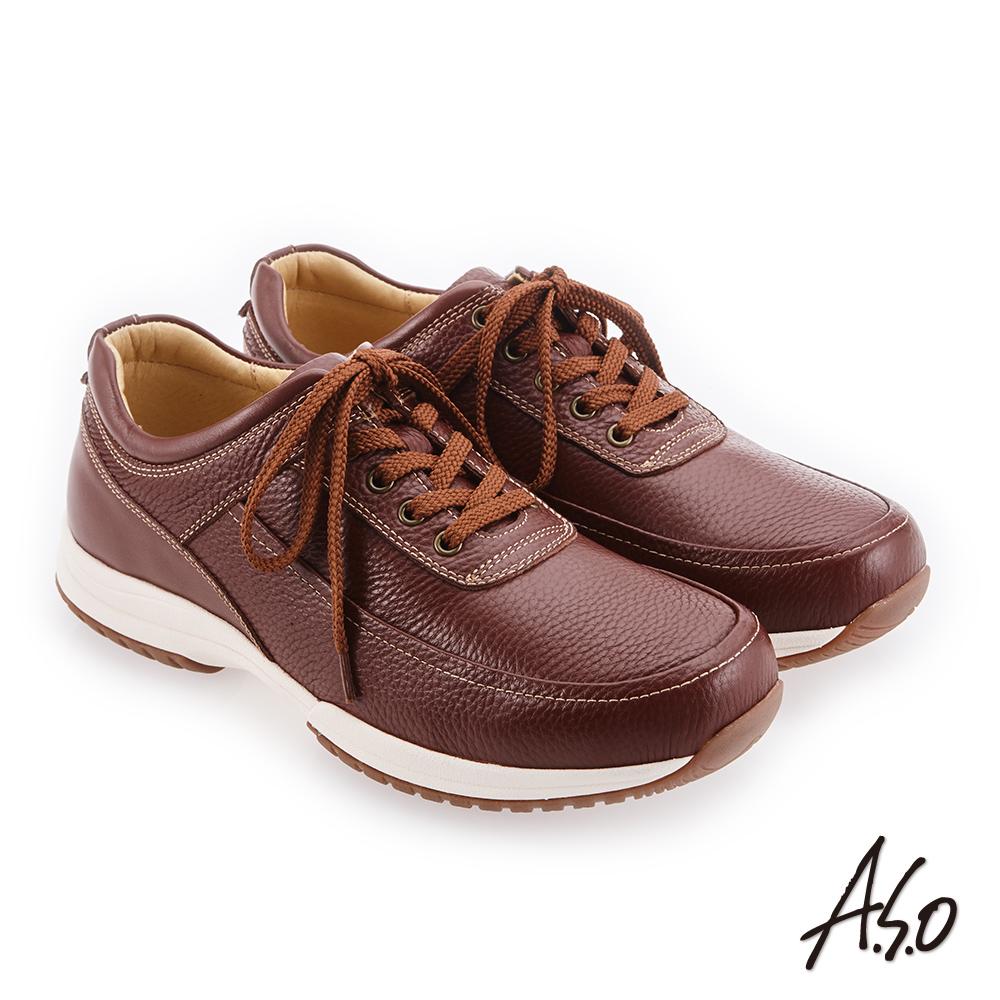A.S.O 3D超動能 精緻做工簡約休閒鞋 茶