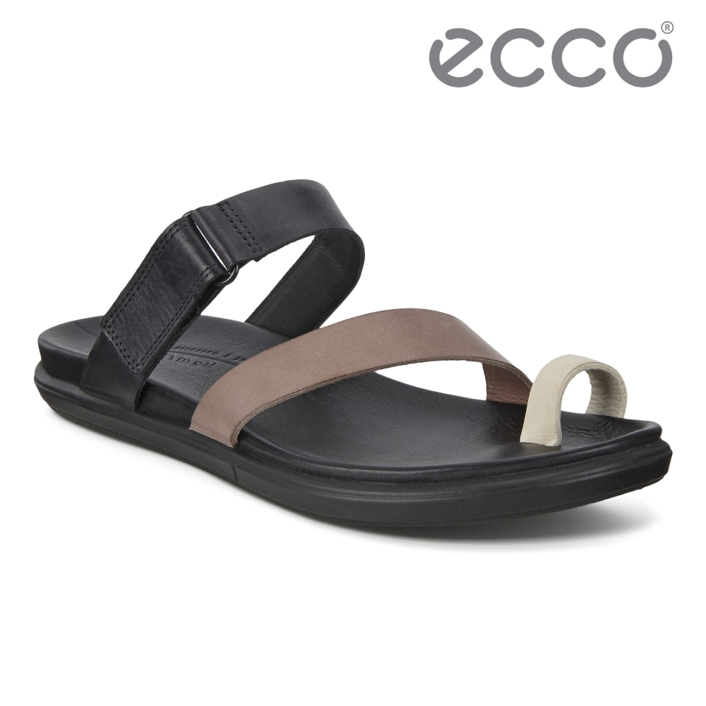 ECCO SIMPIL SANDAL 簡約皮革平底涼鞋 女鞋 黑色/石灰色/木粉色